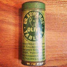 Dr. Edwards Olive Tablets. #packaging #illustration #tin #vintage #typography