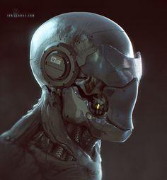 ArtStation - Cyborg Face sketch, by Ian Llanas