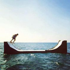 Volcom Floating Mini Ramp #ramp #mini #sea #skate #skateboard