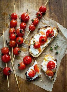 basilgenovese:Grilled Tomato Skewers on Toast (via Todd Porter
