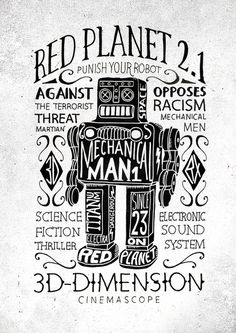 http://www.bmddesign.fr/planet_red/print2.jpg #lettering #robot #illustration #type #hand