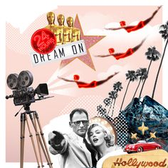 Collage illustrated Hollywood atmosphere, dreams, Merlin Monroe, Shining, neon lights