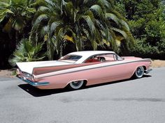 vehicle, Cadillac, pink, retro, custom