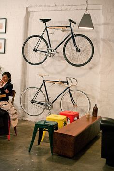 http://concretematter.tumblr.com/post/38310758233 #rack #stools #bike #coffee #table
