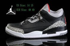 Nike Michael Air Jordan 3 (III) Sneakers Black/Varsity Red/Cement Size 14 and Size 15 Mens