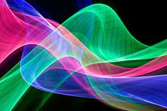 Flowing multicolor abstract light beams