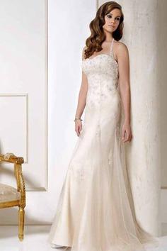 Robe de mariée longue avec perle en dentelle textile en tulle manche nulle - photo 1