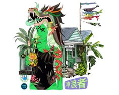 Waladli/ Leeward Islands girl. by Nastya KFKS. #illustration #art #linework #green #island #surf #kfksstore #kfkssurf #dragon