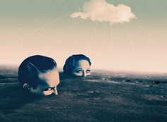 Julien Pacaud / One Million Years Trip / Coalgene.com #cloud #sky #montage #photo #head #illustration #vintage #surrealistic #collage #desert #moon