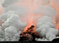 photo #smoke #burn #lava #orange #steam #black #hot #fire #grey