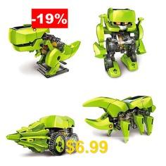 CUTE #SUNLIGHT #2125 #T3 #4 #in #1 #Solar #Dinosaur #Robot #DIY #Kit #- #GREEN