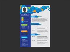 Free Geometric Resume Template with Flat Style Design