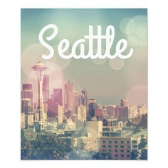 Dreamy Seattle Skyline and Space Needle Photo Print