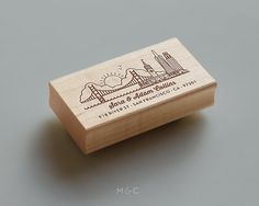 City Collection San Francisco Skyline #stamp #san #laser #wood #gate #golden #francisco #bridge