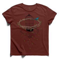 #freely #claretred #tee #tshirt #shakespeare #free #bird #bough #cage #leaf #drawing