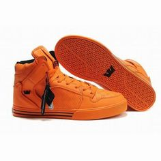 men's supra vaider high ops all orange perf leather shoes #fashion
