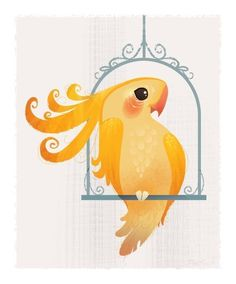 Yellow Birdie Mini Print #illustration #yellow #bird