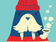 Monster Riot - Walrus #cute #print #walrus #illustration