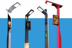 Far from a standard #street #lamp, Prona is a solar-powered multimedia #interactive display smart street light equipped with CCTV, charging