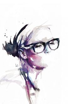 watercolor #glasses #portrait #drawing #woman