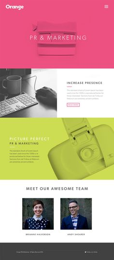 orange pr & marketing landing page #website #grid #design #vivid #square