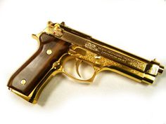 weapon | Tumblr #gun #gold