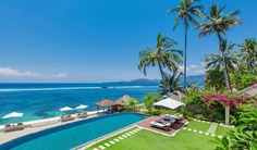 This exclusive 4 bedroom Welcome to Villa 3330, a stunning new Luxury Beach House located right on the water in the Candidasa area of Bali's picturesque and unspoiled East coast.