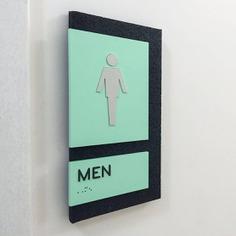 Wayfinding | Signage | Sign | Design | 国外欧美黄绿蓝公共卫生间英文标识