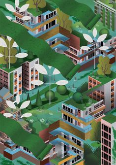 Life in the City on Behance #illustration #city #isometric #buildings