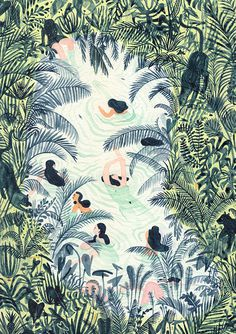 MONICA RAMOS: [ river / lake / spring ] paintings from the group... #illustration