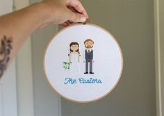Cross Stitch Portraits #wedding #groom #fabric #cross #people #craft #bride #portrait #drawn #type #pixels #hand #stitch #typography