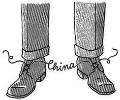 Christoph Niemann / portfolio / Black and White #shoes #legs #illustration #shoelaces #china