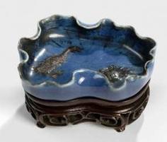 Brush washer porcelain, in the Form of a Lotus leaf with dark blue glaze #Sets #Tea sets #Porcelain sets #Antique plates #Plates #Wall plates #Figures #Porcelain figurines #porcelain