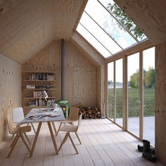 Ateljé 25 by Waldemarson Berglund Arkitekter__This archetypal Swedish building form, shaped like a Monopoly house, serves as an artist's studio, with a simple plywood interior and massive skylights to let in natural sunlight. Photo 1 of 7 in How Much Could You Do with 270 Square Feet?