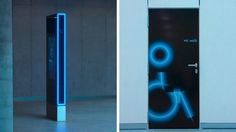 Gourdin & Müller #guidance #edging #xsignage #pictogram #signposts #system #wc #radiant #blue #light
