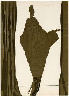 Eduardo García Benito - La dernière lettre Persane. Paris (1920) #paris #woman #design #illustration #figure #vintage #silhouette #coat #fashion #slim #lady #beauty