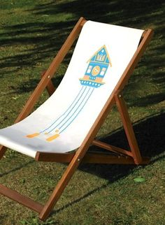 Made By Morris #printed #silkscreen #deck #chair #orange #blue #hand