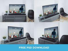 Free Realistic TV Mockups PSD