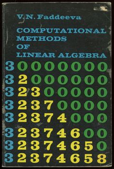 Computational Methods of Linear Algebra Artwork published in 1959. #50s #book