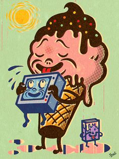 Gary Taxali Have We No Shame? #melt #lick #cream #print #cone #texture #illustration #cute #ice