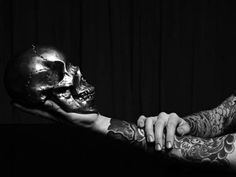 slyAPARTMENT #white #black #tattoo #arms #and #skull #bw