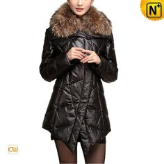 Women Leather Coat with Raccoon Fur Collar CW630126