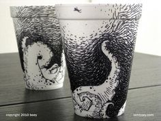 CJWHO ™ (Amazingly Detailed Illustrations Drawn on Foam...) #cups #cheeming #design #foam #illustration #drawn #boey #art #coffee