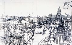 tjshefelman: An Illustration from Rough Sketch to Final Painting #illustration #city