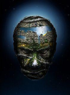 Amazing Works by Jerico Santander TutorArt Graphic Design Inspiration, Case Studies picture on VisualizeUs #photo #head #earth #portrait #manipulation #planet