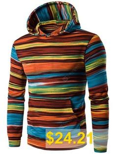 Irregular #Stripe #Kangaroo #Pocket #Pullover #Hoodie #- #JACINTH