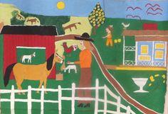 Outsider Folk Art Gallery - Outsider Art | Floretta Emma Warfel | WAF032 | Untitled #painting #naive #art