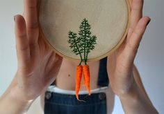 Felted Veggies Dangle from Embroidered Leaves #carrot #decoration #handcraft