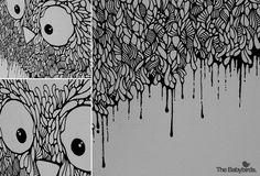 owl03 #white #owl #& #black #birds #illustration