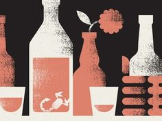 Dribbble - Salud by Doublenaut #white #red #doublenaut #black #texture #bottles #salud